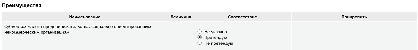 ЭТП РТС, указание преимущества СМП